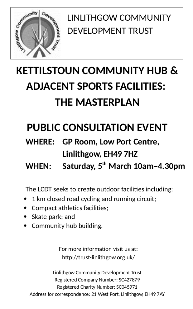 KETTILSTOUN COMMUNITY HUB & ADJACENT SPORTS FACILITIES: THE MASTERPLAN PUBLIC CONSULTATION EVENT